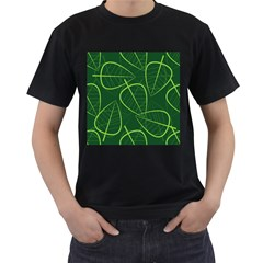 Vector Seamless Green Leaf Pattern Men s T Shirt (black) (two Sided)