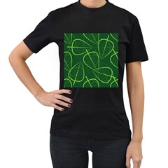 Vector Seamless Green Leaf Pattern Women s T-Shirt (Black) (Two Sided)