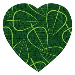 Vector Seamless Green Leaf Pattern Jigsaw Puzzle (Heart)