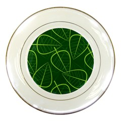 Vector Seamless Green Leaf Pattern Porcelain Plates
