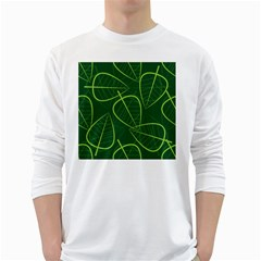 Vector Seamless Green Leaf Pattern White Long Sleeve T-Shirts
