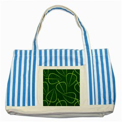 Vector Seamless Green Leaf Pattern Striped Blue Tote Bag