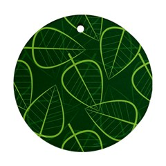 Vector Seamless Green Leaf Pattern Round Ornament (two Sides)