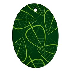 Vector Seamless Green Leaf Pattern Oval Ornament (Two Sides)