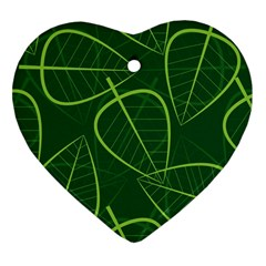 Vector Seamless Green Leaf Pattern Heart Ornament (two Sides)