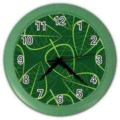 Vector Seamless Green Leaf Pattern Color Wall Clocks