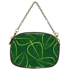 Vector Seamless Green Leaf Pattern Chain Purses (two Sides)