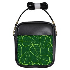 Vector Seamless Green Leaf Pattern Girls Sling Bags