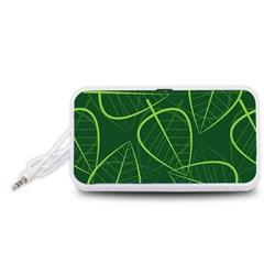 Vector Seamless Green Leaf Pattern Portable Speaker (White)