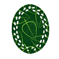 Vector Seamless Green Leaf Pattern Oval Filigree Ornament (Two Sides)