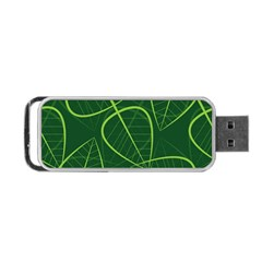 Vector Seamless Green Leaf Pattern Portable USB Flash (One Side)