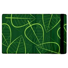 Vector Seamless Green Leaf Pattern Apple iPad 2 Flip Case