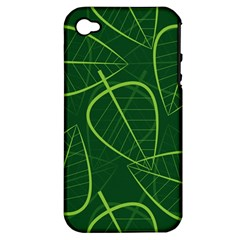 Vector Seamless Green Leaf Pattern Apple iPhone 4/4S Hardshell Case (PC+Silicone)