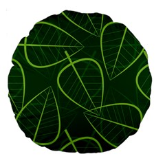 Vector Seamless Green Leaf Pattern Large 18  Premium Round Cushions