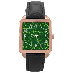 Vector Seamless Green Leaf Pattern Rose Gold Leather Watch