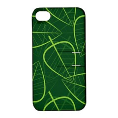Vector Seamless Green Leaf Pattern Apple Iphone 4/4s Hardshell Case With Stand