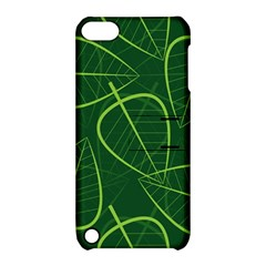 Vector Seamless Green Leaf Pattern Apple iPod Touch 5 Hardshell Case with Stand