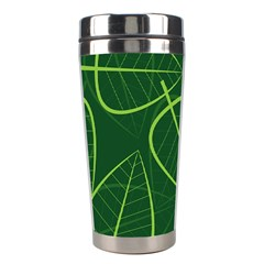 Vector Seamless Green Leaf Pattern Stainless Steel Travel Tumblers