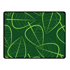 Vector Seamless Green Leaf Pattern Double Sided Fleece Blanket (Small)
