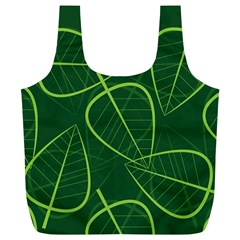 Vector Seamless Green Leaf Pattern Full Print Recycle Bags (L)