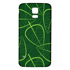 Vector Seamless Green Leaf Pattern Samsung Galaxy S5 Back Case (White)