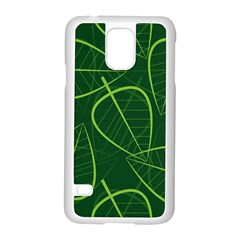 Vector Seamless Green Leaf Pattern Samsung Galaxy S5 Case (White)