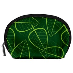 Vector Seamless Green Leaf Pattern Accessory Pouches (Large)