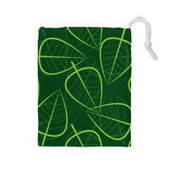 Vector Seamless Green Leaf Pattern Drawstring Pouches (Large)