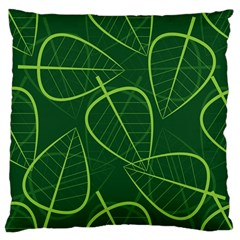 Vector Seamless Green Leaf Pattern Large Flano Cushion Case (One Side)