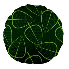 Vector Seamless Green Leaf Pattern Large 18  Premium Flano Round Cushions