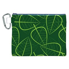 Vector Seamless Green Leaf Pattern Canvas Cosmetic Bag (XXL)