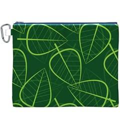Vector Seamless Green Leaf Pattern Canvas Cosmetic Bag (XXXL)