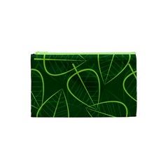 Vector Seamless Green Leaf Pattern Cosmetic Bag (XS)