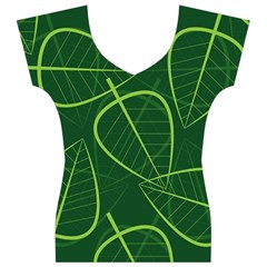 Vector Seamless Green Leaf Pattern Women s V-Neck Cap Sleeve Top