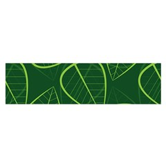 Vector Seamless Green Leaf Pattern Satin Scarf (oblong)