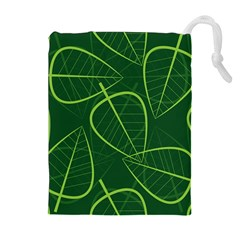 Vector Seamless Green Leaf Pattern Drawstring Pouches (Extra Large)