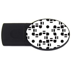 Black And White Pattern USB Flash Drive Oval (4 GB)