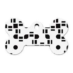 Black And White Pattern Dog Tag Bone (Two Sides)