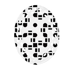 Black And White Pattern Ornament (Oval Filigree)
