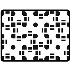 Black And White Pattern Double Sided Fleece Blanket (Large)