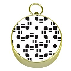 Black And White Pattern Gold Compasses
