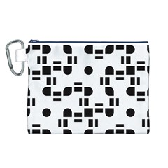 Black And White Pattern Canvas Cosmetic Bag (L)