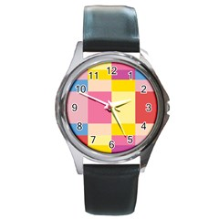 Colorful Squares Background Round Metal Watch