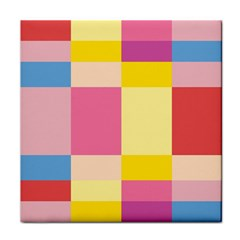Colorful Squares Background Tile Coasters