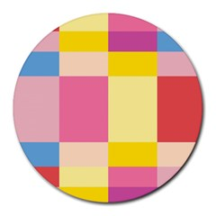Colorful Squares Background Round Mousepads