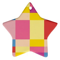 Colorful Squares Background Ornament (star)