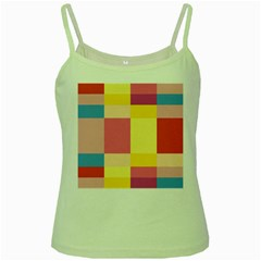 Colorful Squares Background Green Spaghetti Tank