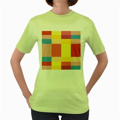 Colorful Squares Background Women s Green T Shirt
