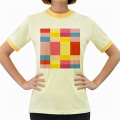 Colorful Squares Background Women s Fitted Ringer T-Shirts