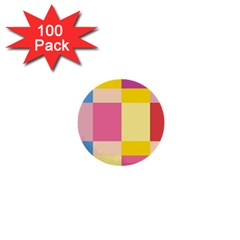 Colorful Squares Background 1  Mini Buttons (100 pack)